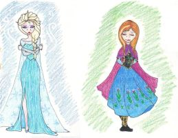 Elsa and Anna by WhotheGhost