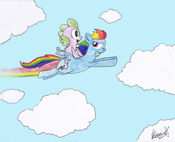 Spike and Rainbow Dash - Request by TurboBrycerox