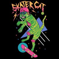 Skater Cat by HillaryWhiteRabbit
