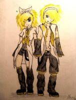 Kagamine Len and Rin by ItsMeBruna-Chan