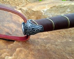 Leather wrapped Dark world hammer Pomel detail by NMTcreations
