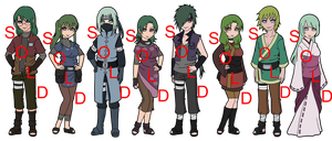 Mixed Green Haired Naruto OC Adoptables - SOLD OUT by mistressmaxwell