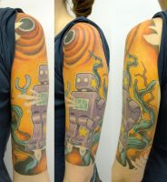 Alien Robot Jungle Tattoo by TheseAreMyScars