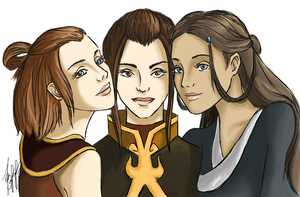 Suki, Azula and Katara by lerielos