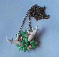 Woodland Polymer Clay Antler Necklace by ChroniclesOfKate