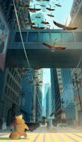 Geese Flock in the City by l3onnie