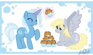 Trixie and Derpy by bethwhowishes