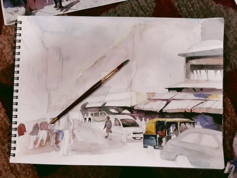 watercolors in progress by Abhinav-g