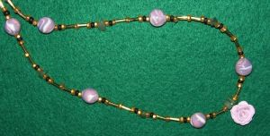 Clay bead and Rose necklace by ladytech