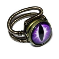 Steampunk Jewelry - Ring - Purple Dragon glass Eye by CatherinetteRings