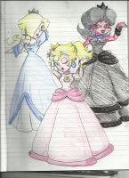 Rosalina, Peach and Random Daisy by vivuz