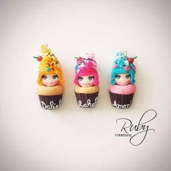 Cupcake dolls, polymer clay pendants by Ruby-creations