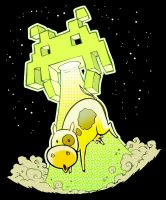 T-Shirt Design: Space Invaders vs. Kuh by Yeocalypso
