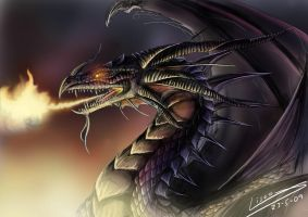 Portrait of a Black Dragon by Dragolisco