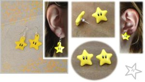 Mario Star Earrings by Xx-tangerine-xX