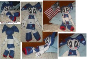 Red white and blue Jenny plush by teenagerobotfan777