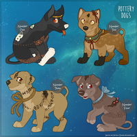 Pottery Dogs:  First Four by c-Chimera