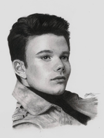 Chris Colfer charcoal drawing by BlueSun-sketches