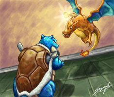Charizard vs. Blastoise (Pokemon Origins) by MoodySmeargle