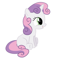Sweetie Belle Sitting Happy by robzombiefan2121