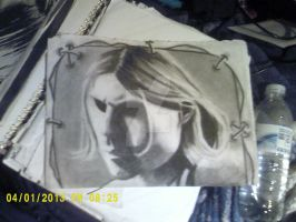 Kurt Cobain Portrait with stitching border by BloodyXxBanshee