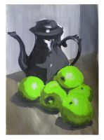 Green Apples and Coffee Pot by zingmatter
