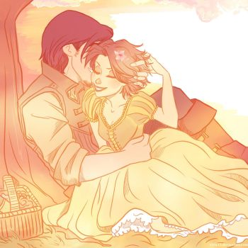 Tangled-Rapunzel and Eugene by viria13