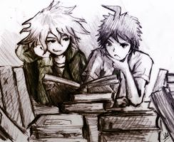 Commission- Komaeda and Hinata by ReenaCat