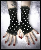 Polka Dot Fingerless Gloves by ZenAndCoffee