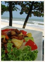 Thai food on the beach by Corycat