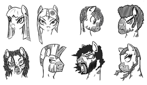 Asian pony and Zebra sketches by WhatTheScoots