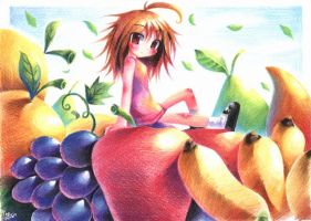 girl with fruits by emperpep