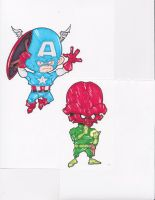 CAPTAIN AMERICA VS. RED SKULL by hclix