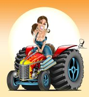 Hot Rod Tractor Pinup by malberri