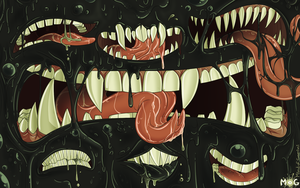 Commission - Wall of Mouths by blinkpen