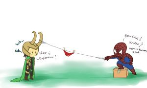 Loki and Spiderman by clgtart