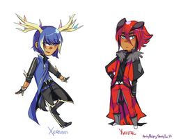 +++XY Xerneas and Yvental gijinkas by Archy-tan