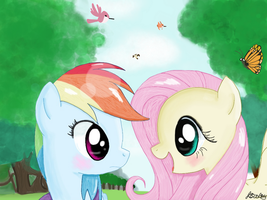 Rainbow Dash and Fluttershy: Forest Friends by 8BitAmy