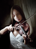 Girl playing the violin by StyrbjornA