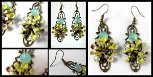 Brass Enameled Green Sprocket Crystal Earrings DG by DryGulchJewelry