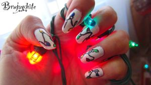 Alphabet nail art challenge: X is for Xmas Lights by Brujawhite