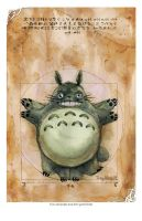 Watercolor Vitruvian Totoro Print by dreamflux1