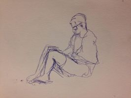 Contour Drawing of a Guy Who Was Eating Doritos by SaturnSirene