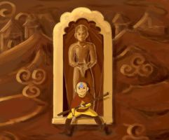 Aang and Statue by KimchiCrusader