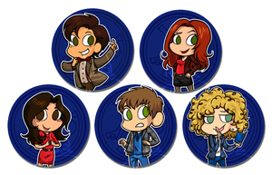 Moffat Doctor Who Buttons by Ilovetodraw