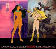 Pocahontas and She Ra Naked Girl Power by EspioArtwork