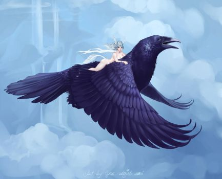 Riding a crow by Lynx-Catgirl
