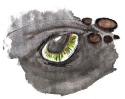 Toothless Eye Watercolor by Midair510