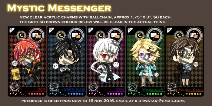 Mystic Messenger Clear Acrylics - Preorders Open by gumokohiiragizawa
