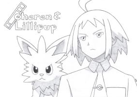 Cheren and Lillipup of Aspertia City by TheWhiteScatterbug